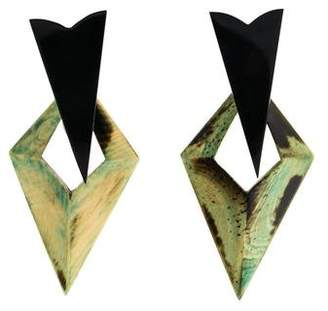 Stephen Dweck Lucite & Resin Clip-On Earrings