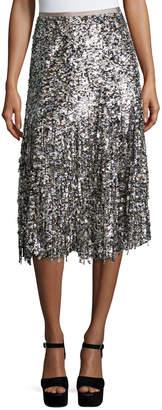 Michael Kors Paillette-Fringe A-Line Skirt, Nude
