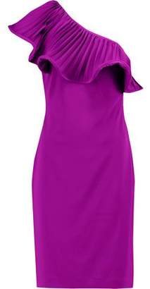 Badgley Mischka One-Shoulder Ruffle-Trimmed Crepe Dress