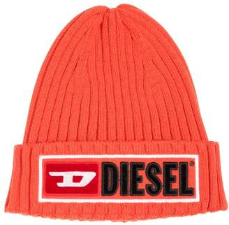 Diesel Logo Wool & Cotton Knit Beanie Hat