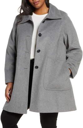 Kristen Blake Stand Collar Patch Pocket Coat