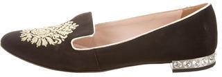 Miu MiuMiu Miu Woven Round-Toe Loafers