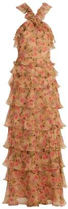 Vilshenko Sabina peony-print silk-chiffon gown