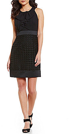 Anne Klein Anne Klein Bow Tie Front Eyelet Lace Combo Dress