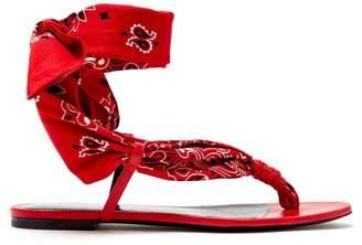 Saint Laurent Dallas Bandana Print Wrap Sandals - Womens - Red White