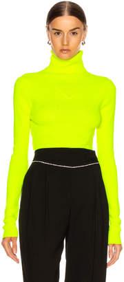 MSGM Turtleneck Sweater in Yellow Fluo | FWRD