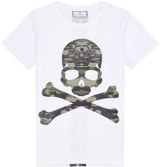 Philipp Plein Camouflage Skull and Crossbones T-Shirt