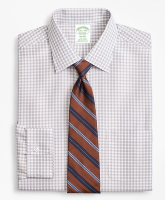 Brooks Brothers Milano Slim-Fit Dress Shirt, Non-Iron Framed Windowpane