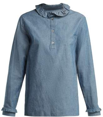 A.P.C. Agathe Ruffle Trimmed Cotton Blend Blouse - Womens - Light Blue