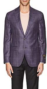 Jack Victor MEN'S PLAID WOOL-BLEND TWO-BUTTON SPORTCOAT-PURPLE SIZE 36 R
