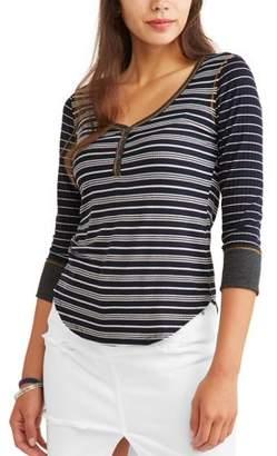 Self Esteem Juniors' Striped Contrast Trim Long Sleeve Henley T-Shirt