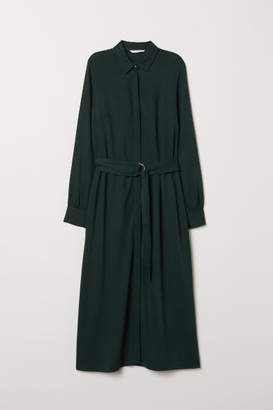 H&M Calf-length Shirt Dress - Green