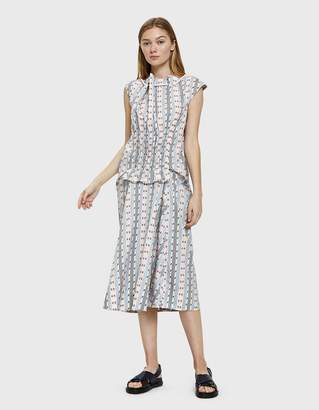 Carven Smocked Jacquard Stripe Dress