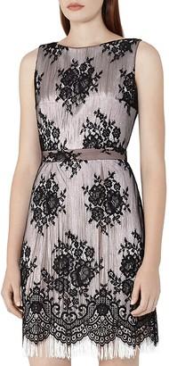 REISS Eleonora Lace-Overlay Fringe Dress $425 thestylecure.com