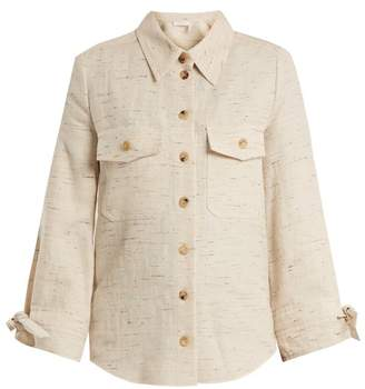 Chloé Flecked Cotton Blend Shirt - Womens - Beige Multi