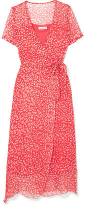 Cloe Cassandro - Kimi Printed Silk-crepon Wrap Midi Dress - Bright pink