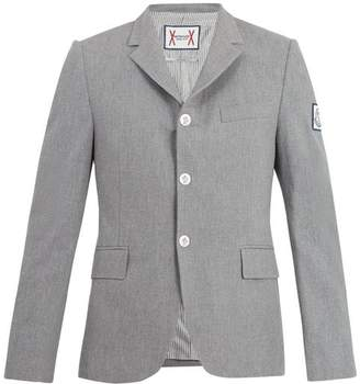 Moncler Gamme Bleu Single Breasted Cotton Blazer - Mens - Grey