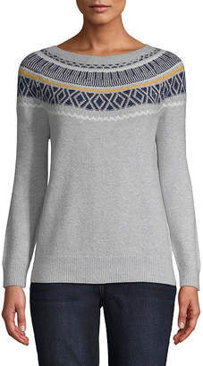 ST. JOHN'S BAY Long Sleeve Fair Isle Pullover - Tall