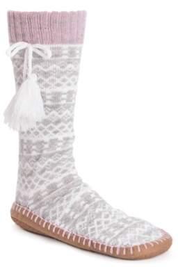 Muk Luks Tassel Sock Boot Slipper