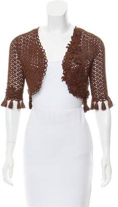 Oscar de la Renta Fringed Open Knit Shrug