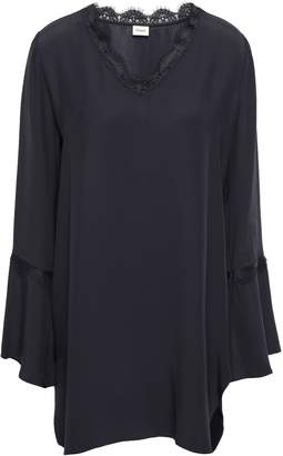 Charli Sylvia Lace-trimmed Washed-crepe Top
