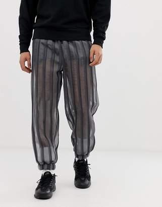 Asos Design DESIGN festival tapered sweatpants in sheer mesh stripe