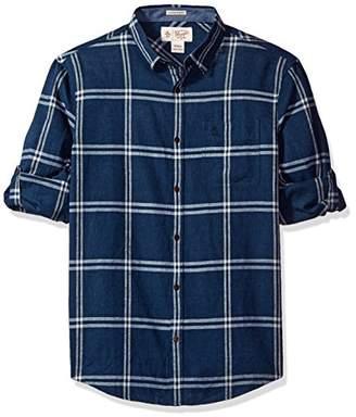 Original Penguin Men's Roll Sleeve Linen Blend Window Pane Shirt Pocket