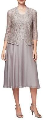 Alex Evenings Plus Two-Piece Lace Cardigan and Tea-Length Dress