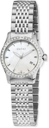 Gucci G-Timeless Small Stainless Steel & Diamond Bracelet Watch, White