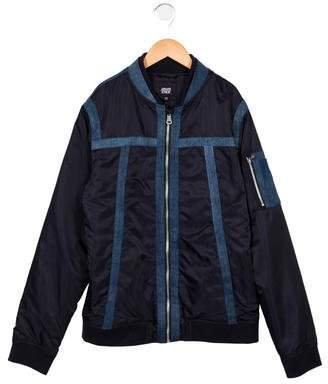 Armani Junior Boys' Denim-Trimmed Bomber Jacket w/ Tags