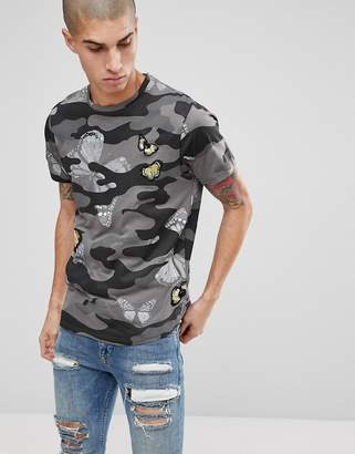 Brave Soul Butterfly Emroidered Camo Print T-Shirt