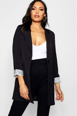 boohoo Single Button Longline Blazer