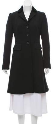 Michael Kors Velvet-Trimmed Virgin Wool Coat