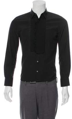 Neil Barrett Pleated Tuxedo Button-Up Shirt