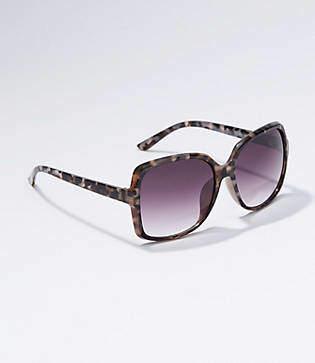 LOFT Tortoiseshell Print Rectangle Sunglasses