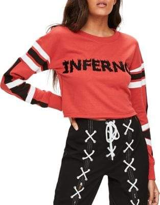 Missguided Inferno Cropped Sweatshirt