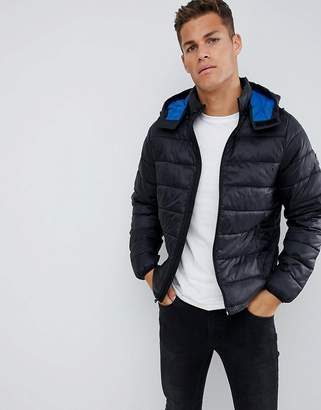 Abercrombie & Fitch lightweight packable down puffer with hood in black