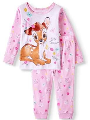 Bambi Baby Girl Long Sleeve Cotton Tight Fit Pajamas, 2pc Set