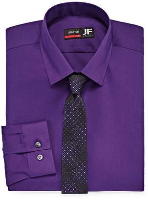 Jf J.Ferrar Slim Fit Dress Shirt And Tie Set Mens Spread Collar Long Sleeve Stretch Shirt + Tie Set Slim