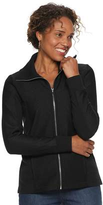 Croft & Barrow Petites Textured Zip-Front Jacket