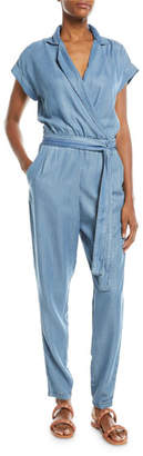 Etienne Marcel Short-Sleeve Wrap-Front Skinny-Leg Chambray Jumpsuit