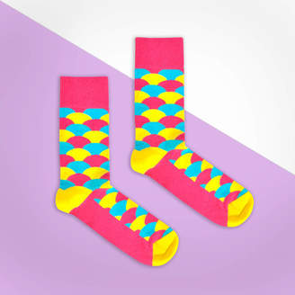 Bryt Pink, Yellow And Blue Fan Sock