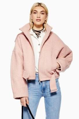 Topshop Womens Wool Rich Hooded Jacket