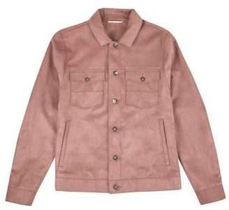 Burton Mens Pink Taupe Suedette Trucker Jacket