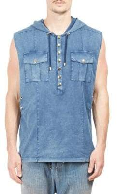Balmain Sleeveless Hooded Denim Top
