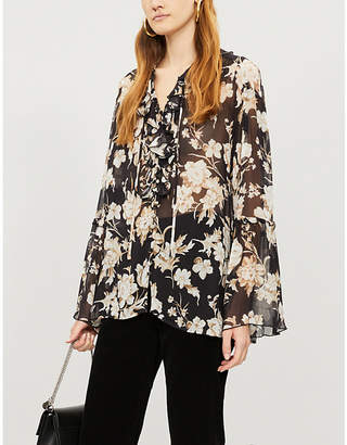 The Kooples Ruffled floral-print muslin blouse