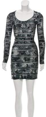 Herve Leger Lace-Accented Bandage Dress Grey Lace-Accented Bandage Dress