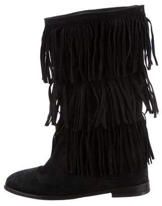 Alice + Olivia Fringe Wedge Boots
