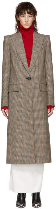 Beige Houndstooth Single Breasted Long Coat