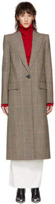 Givenchy Beige Houndstooth Single Breasted Long Coat